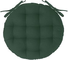 Galette de chaise ronde en coton vert cèdre D38