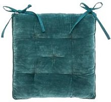 Galette de chaise Velours Coton - 38 x 38 cm - Bleu