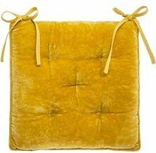 Galette de chaise Velours Coton - 38 x 38 cm -