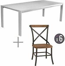 GARDEN ART Table avec Chaises Aluminium Et Teck 6