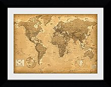 GB eye Carte du monde - Impression encadrée -