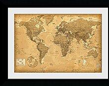 GB Eye Poster Carte du Monde, Style Antique,