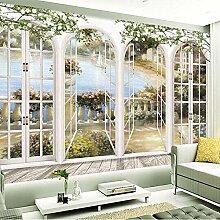 GBUIHZK Fenêtre 3D Vues Jardin Piscine Photo