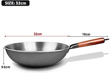 GDYJP Pot de Cuisine 34cm Wok Chinois sans bâton
