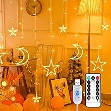 GDZTBS LED rideau lumière étoile lune fenêtre