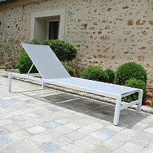 Gecko Jardin - Bain de soleil aluminium blanc