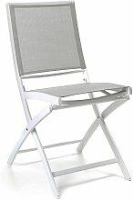 Gecko Jardin - Chaise pliante alu blanc textilène