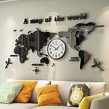 GGMWDSN Grande Horloge Carte du Monde Geante,