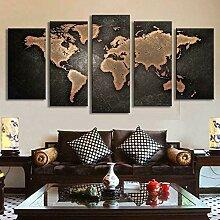 GHYTR 5 Panneau Mural Art Peinture Carte du Monde
