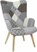 Giada - fauteuil patchwork motifs grisés
