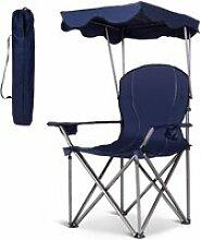 Giantex chaise de camping avec parasol, chaise de