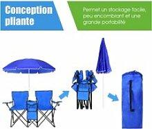Giantex  chaise de camping pliante 2 places en pvc