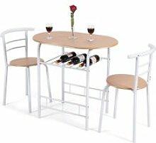 Giantex table de cuisine avec 2 chaises pour salle