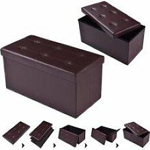 Giantex tabouret de cube pouf pliable banc coffre
