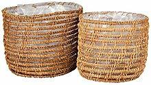 Gina Da Lot de 2 cache-pots ronds en jonc de mer