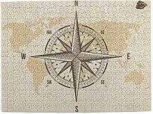 gjhj Boussole nautique ancienne carte du monde 500