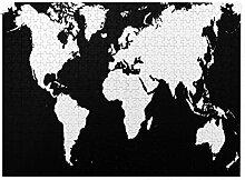 GKGYGZL Puzzles 500 pièces,Carte du Monde Noir et