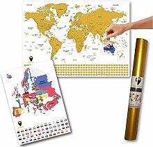 Global Walkabout Carte du monde à gratter A2 +