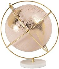 Globe carte du monde rose et métal