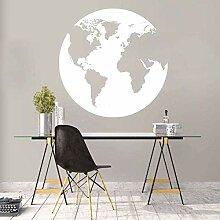 Globe Carte Du Monde Sticker Mural Silhouette