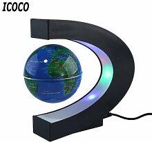 Globe flottant antigravité en forme de C, carte