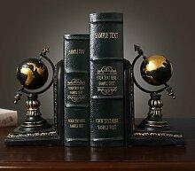 Globe rétro américain, serre-livres, livres,