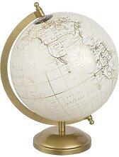 Globe terrestre carte du monde crème et
