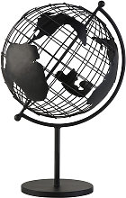Globe terrestre carte du monde en métal noir mat