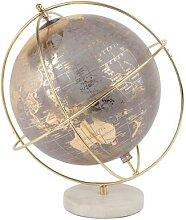 Globe terrestre carte du monde gris, doré
