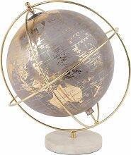 Globe terrestre carte du monde gris, doré et blanc