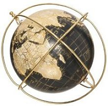 Globe terrestre - flower - d 25 cm - bleu et doré