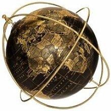 Globe terrestre - flower - d 25 cm - noir et doré
