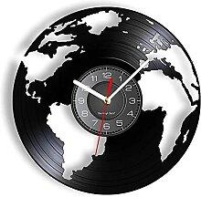 Globe terrestre Vinyle LP Record Horloge Murale