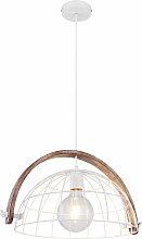 Globo - Lampe suspendue Plafond en bois Spot Cage