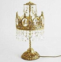 GMLSD Vintage Cuivre Cristal Led Lampe de Table