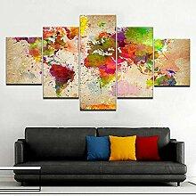 GMSM 5 pièces Art Mural sur Toile Carte du Monde
