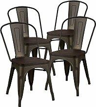 GOPLUS Lot 4 de Chaises de Bistrot Métal,4