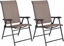 GOPLUS Lot de 2 Chaises de Jardin Pliantes avec