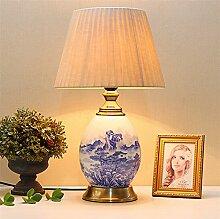 GQQ Lampe de Table En Porcelaine Bleue Et Blanche
