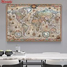 Grand abstrait Vintage carte du monde diamant