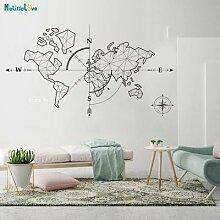 Grand autocollant carte du monde boussole terre