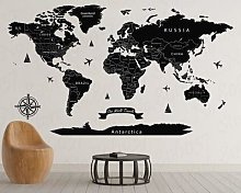 Grand autocollant de carte du monde imprimé en