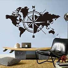 Grand autocollant mural boussole carte du monde