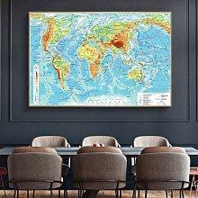 Grand autocollant mural carte du monde en russe,