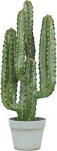 Grand cactus euphorbe artificiel à 4 branches pot