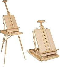 Grand chevalet d'art en bois et boîte de