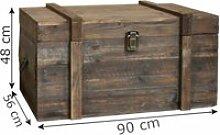 Grand coffre malle en bois style ancien 90 cm x 56