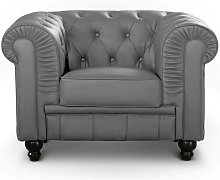 Grand fauteuil Chesterfield Gris - Gris