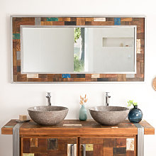 Grand Miroir de salle de bain Factory bois métal