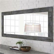 Grand miroir design couleur béton foncé MABEL